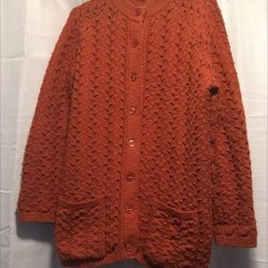 Vintage Orange Knit Sweater Loose Fit M Exc. Cond.